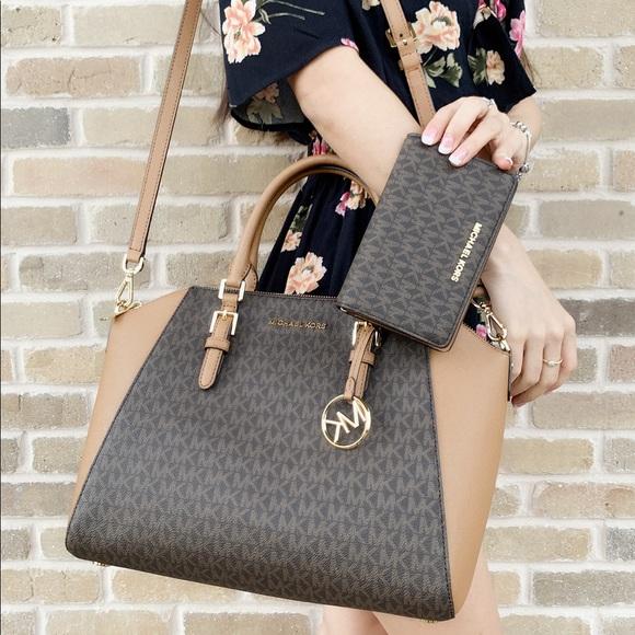 70e488e89829a0 Michael Kors Bags | Large Satchel Bag Brown Wallet Set | Poshmark